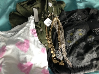 Would you expect anything less than skulls, hearts, and camo? Chains, too ;-) Camo Boyfriend Shirt by Sanctuary, Skull + Daisies tee by Chaser.