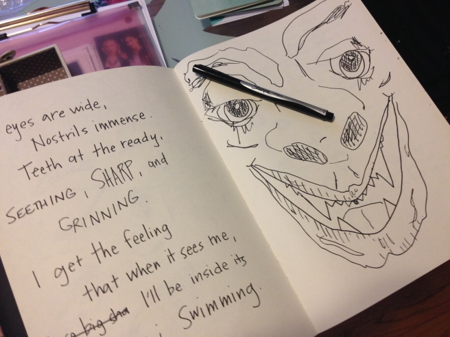 Create wherever your feel compelled to. In this case, write in my sketchbook next to that monster.